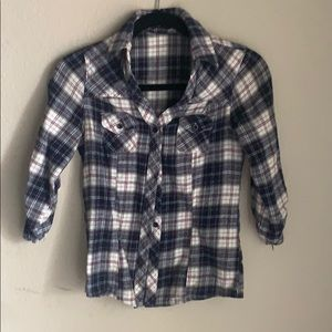 Plaid Button Down Quarter Length Sleeve Flannel